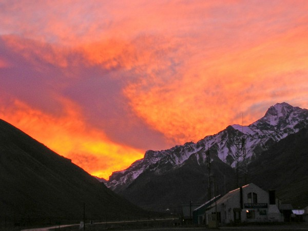 the sunset in the Andes mountains of Argentina at