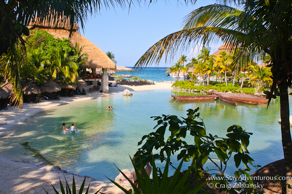 a view of the caribbean sea from inside Xcaret Park in the Riviera Maya of Mexico