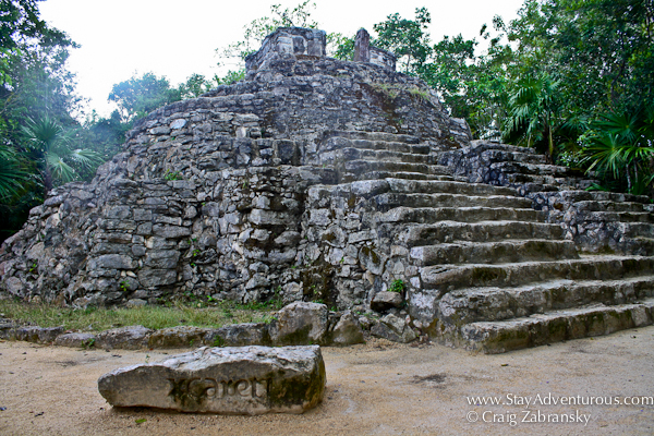 inside Xcaret Park in the Riviera Maya of Mexico, visitors can find real Mayan ruins to explore.