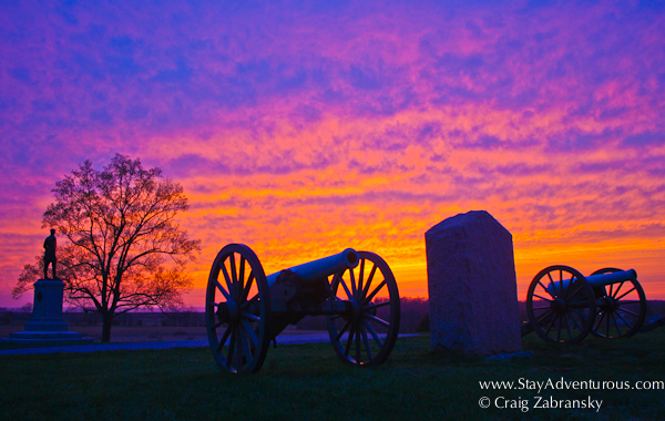 sunset at the national park service, national military park of gettysburg in pennsylvania, usa