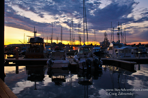 the sunset in the harbor by fisherman's wharf in Victoria, British, Columbia