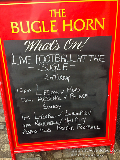 sign describing the matches on at the Bugle Horn in Charlton, greenwich, greater london, england, UK