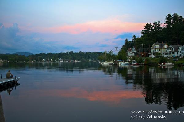 sunset in saranac lake, adirondacks, upstate new york, usa