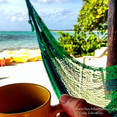 taking a coffee in the morning on the hammock at Casa de Corazon in Soliman Bay, Riviera Maya, Mexico