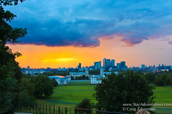 the sunset from the Royal Observatory in Greenwich, London, England, UK