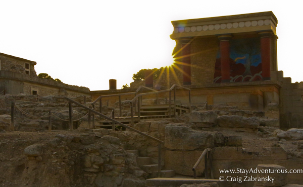 the sunset from the knossos palace, the minoan palace, located outside modern day Herakilon, Crete, Greece