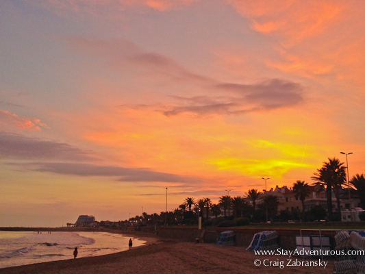 walking the beaches of Sitges, Spain on the Catalonian Coast at sunset