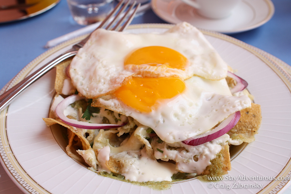 Chilaquiles Verder from Merida served at Casa Azul