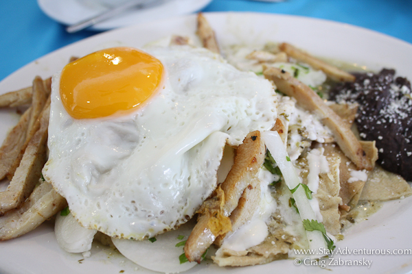 Chilaquiles Verde from Hotel B in Cozumel.