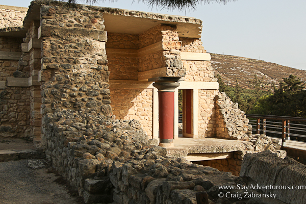one of the entrances to Knossos Palace in Crete, Greece