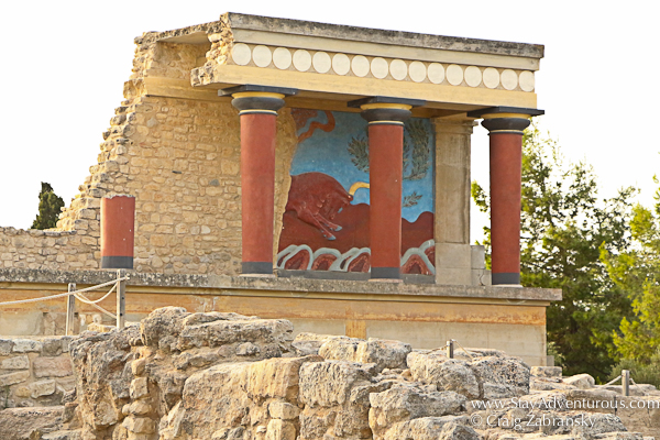a painting of the famous minotaur at Knossos Palace in Crete, Greecer