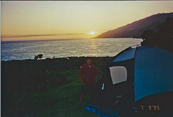 1995 image of cross country travel, tent is up before sunset