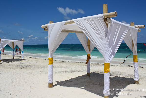 a tent set up on the beach at Dreams Riviera Cancun