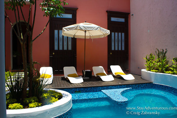 one of the pools inside Casa Azul Boutique Hotel in Merida, Yucatan, Mexico