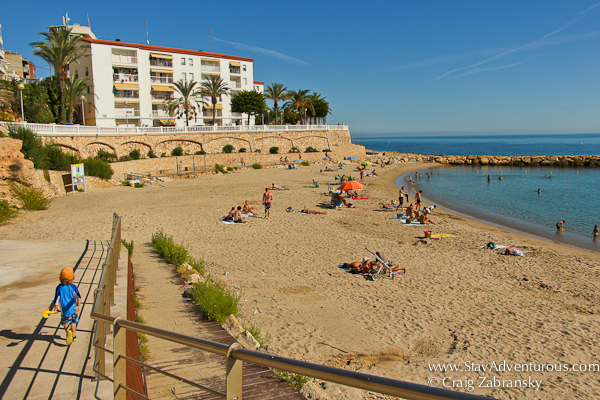 walking down to the beach in the heart of L'Ametlla del Mar, Catlunya, Spain