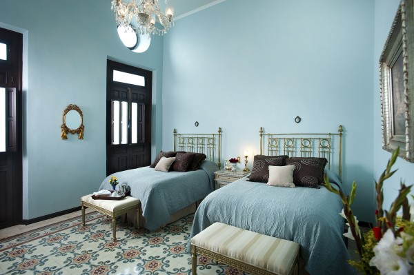 a room inside Casa Azul Boutique Hotel in Merida, Yucatan, Mexico