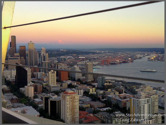See Mount Rainier and Century Link Field in Seattle from atop the famous Seattle Space Needle