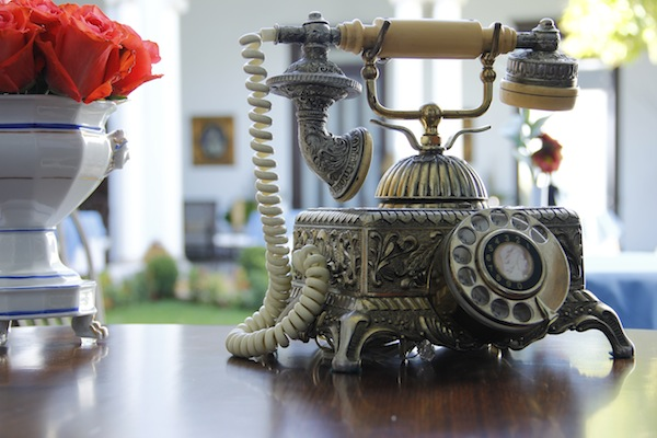 an old telephone inside Casa Azul Boutique Hotel in Merida, Yucatan, Mexico