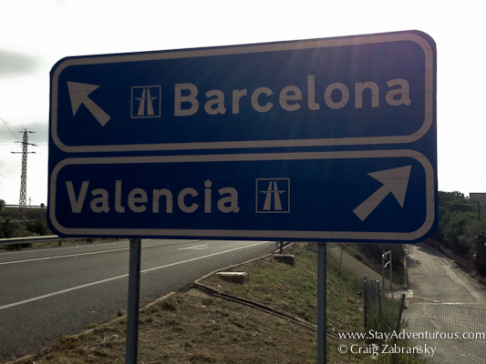 the road sign from L'Ametlla del Mar... between Barcelona and Valencia