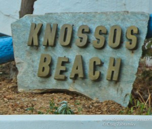 the Knossos Beach Resort Sign