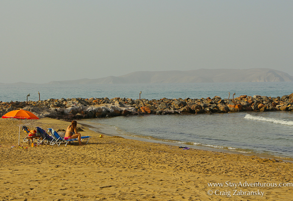 the view of the beach at the Knossos Beach Bungalows and Suites on the Greek Island of Crete