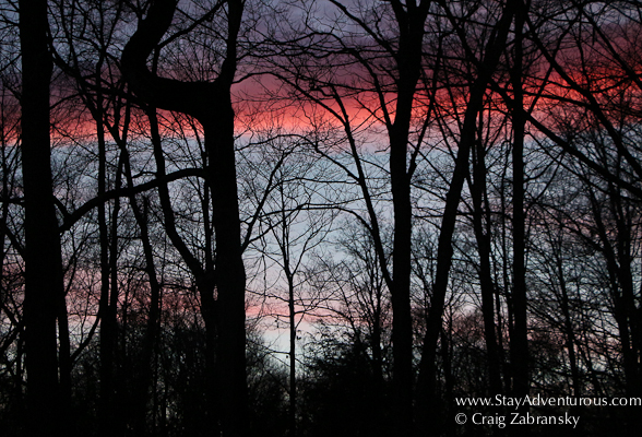 sunset in the winter sky in the Pocono Mountains of Pennsylvania