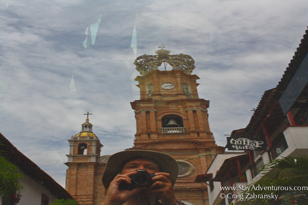 trying to capture a unique shot of the cathedral or iconic church in puerto vallarta, took a selfie