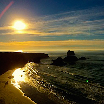 the sun on the california coast in Big Sur