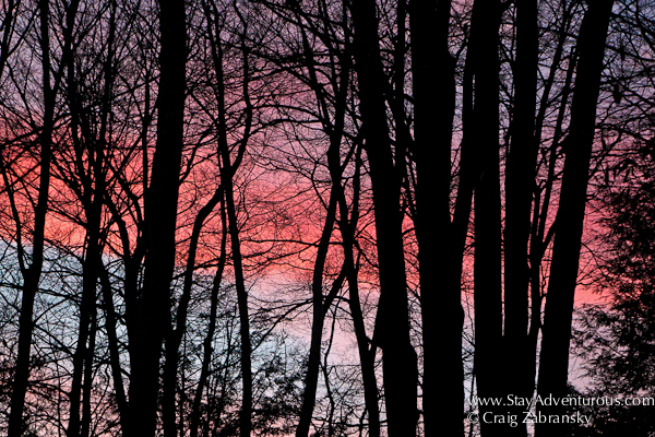 a winter sunset in the pocono mountains of pennsylvania