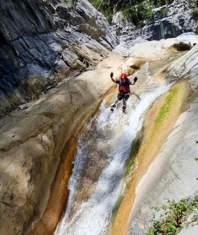 slidong down Matacanes Canyon outside of Monterrey, Nuevo Leon, Mexico