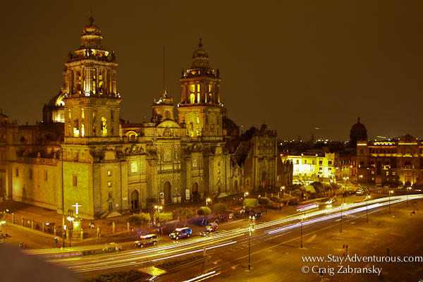 the view of a Zocalo at night in Mexico City