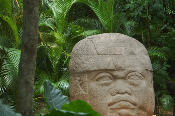 the colossal Olmec Head from Tabasco, Mexico