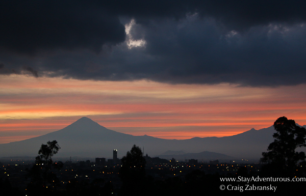 Viewing the Volcano Popocatepetl from Puebla at sunset in Mexico