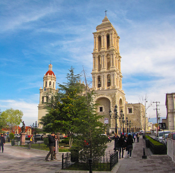 the main square and church in saltillo, coahuila