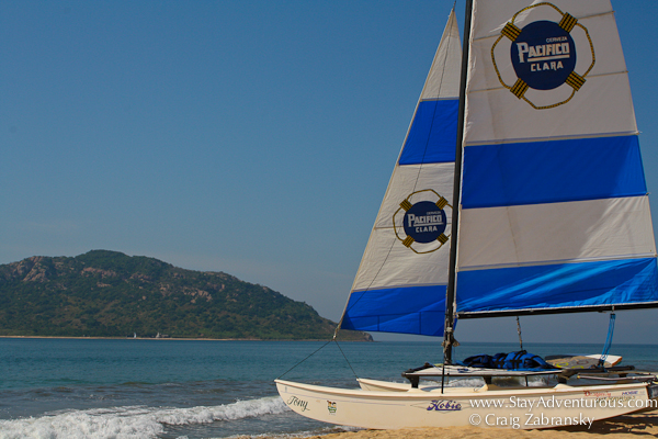 sailing the Bay of Mazatlan with a Pacifico Hobie Craft