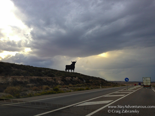 The Bull is a common billboard on the roads of Spain.