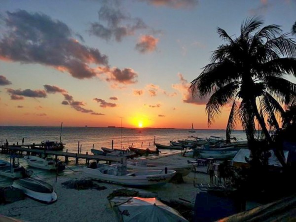 a mexican sunset from isla mujeres, quintana roo, mexico