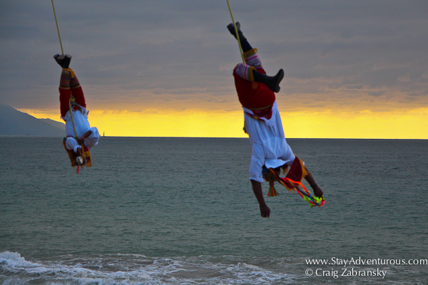 the Voladores of Papantla at sunset in puerto vallarta, jalisco, mexico PV