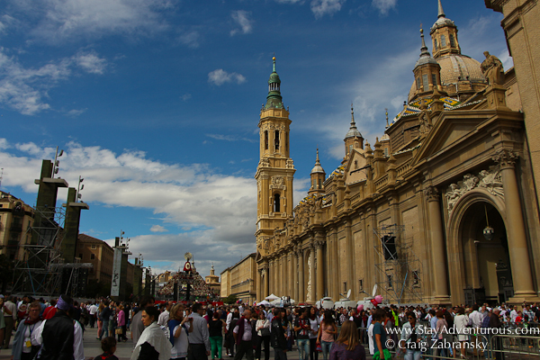 the main plaza of el pilar in the heart of zaragoza, spain