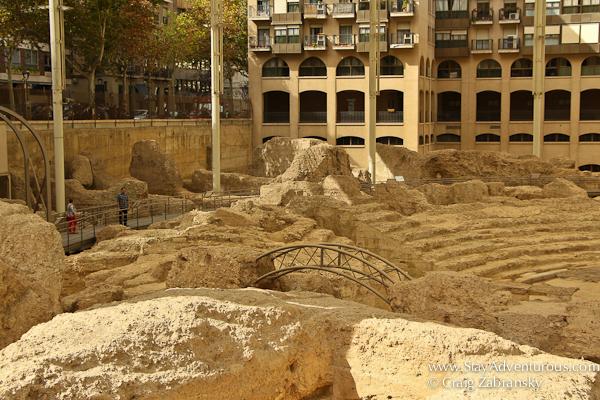 roman ruins in Zaragoza, Spain