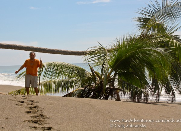 Craig Zabransky on the black sand beaches of the Osa Peninsula, Costa Rica