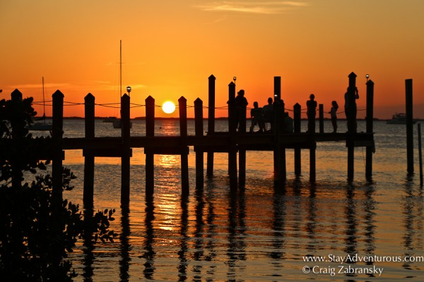 the view of the pier at snooks at mm99 for the key largo sunset in the florida keys