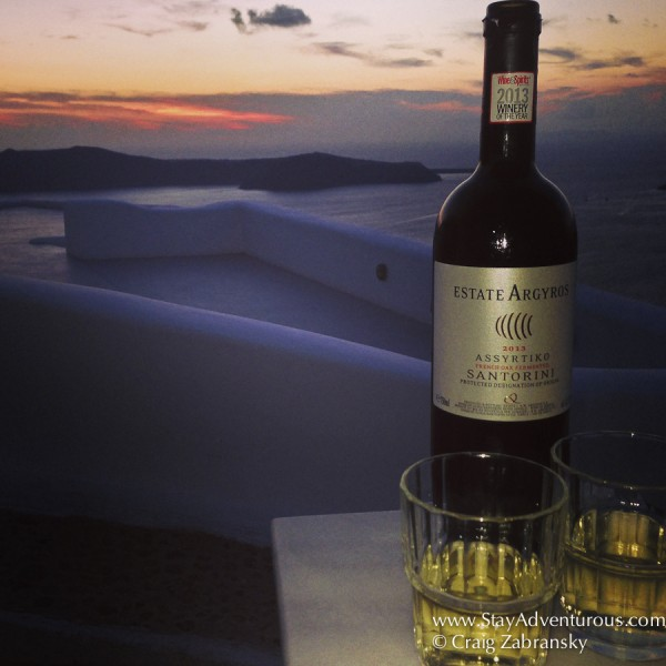 celebrating a Santorini Sunset with some Estate Argyros Assyrtiko