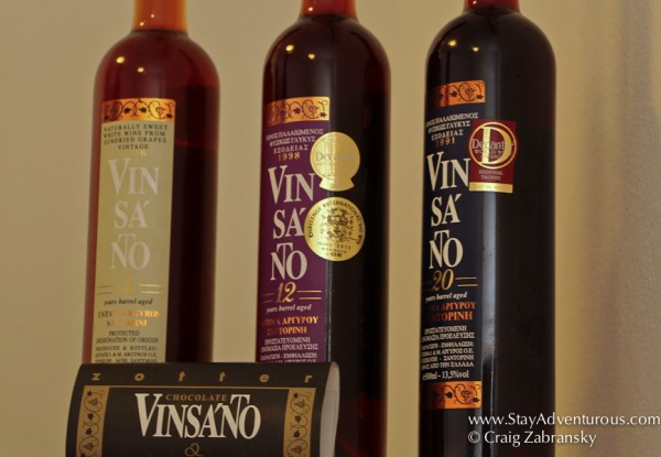 the speciality aged vinsanto wines of Estate Argyros in Santorini, Greece