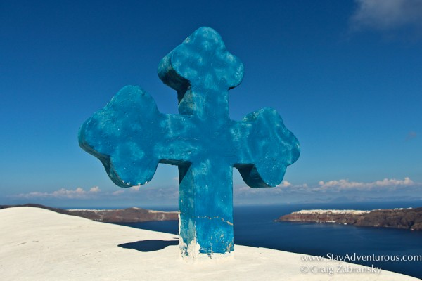 the blue and white of the church on santorini