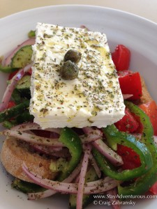 the greek salad, a delicious option in Santorini