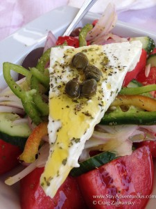a greek salad in santorini