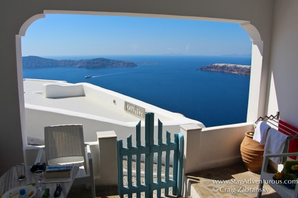 the view from the ground villa at langas villas in imerovigli, santorini