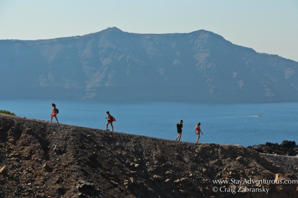 the best views of santorini from volcano Nea Kameni