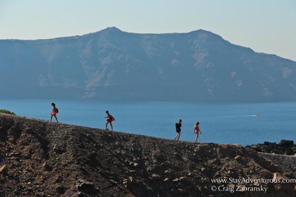 the best views of santorini from volcano Nea Kameni